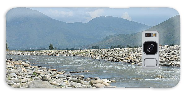 Riverbank Water Rocks Mountains And A Horseman Swat Valley Pakistan Galaxy Case