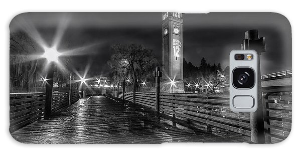 Riverfront Park Clocktower Seahawks Black And White Galaxy Case