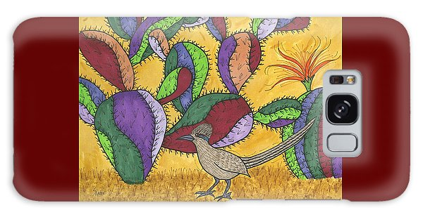 Roadrunner And Prickly Pear Cactus Galaxy Case by Susie Weber