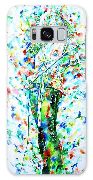 Robert Plant Singing - Watercolor Portrait Galaxy Case