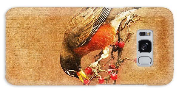 Robin Eating Berries Galaxy Case