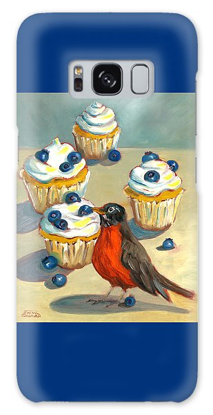 Robin With Blueberry Cupcakes Galaxy Case