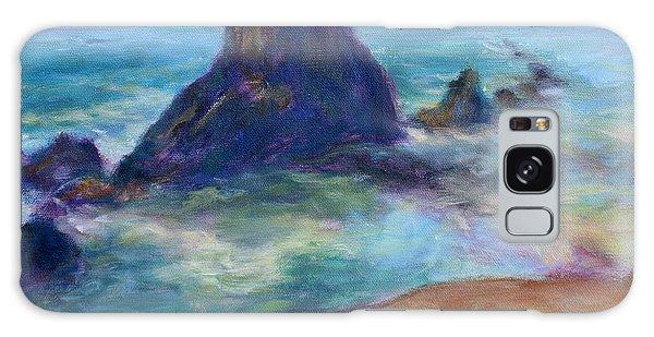 Rocks Heading North - Scenic Landscape Seascape Painting Galaxy Case