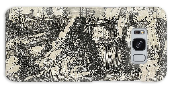 Waterfall Galaxy Case - Rocky Landscape With A Waterfall, Henry Le Roy by Henry Le Roy
