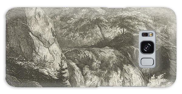 Waterfall Galaxy Case - Rocky Landscape With Waterfall, Pierre Louis Dubourcq by Pierre Louis Dubourcq
