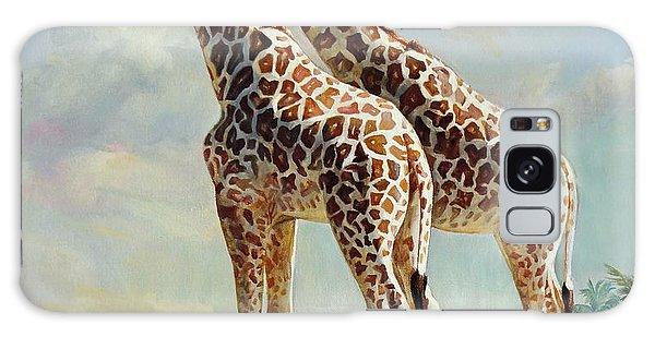 Romance In Africa - Love Among Giraffes Galaxy Case