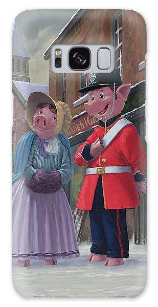 Romantic Victorian Pigs In Snowy Street Galaxy Case