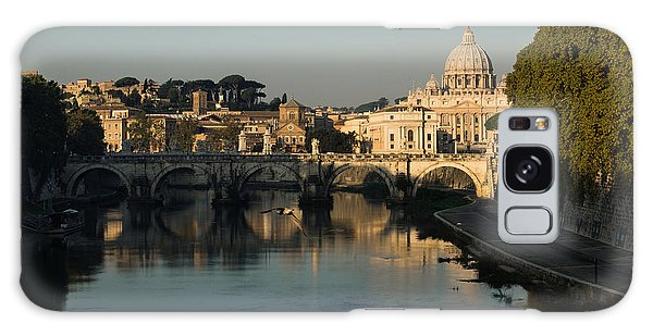 Rome - Iconic View Of Saint Peter's Basilica Reflecting In Tiber River Galaxy Case