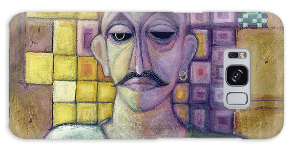 Moustache Galaxy Case - Romeo, 1970 Acrylic & Metal Leaf On Canvas by Laila Shawa