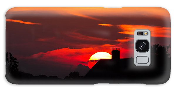 Rooftop Sunset Silhouette Galaxy Case