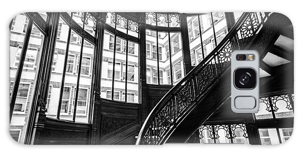Rookery Building Winding Staircase And Windows - Black And White Galaxy Case