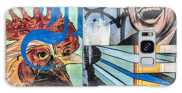 Rooster And Man Graffiti Galaxy Case by Terry Rowe