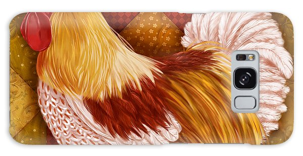 Rooster On A Quilt I Galaxy Case