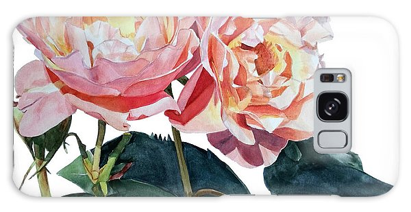 Pink And Yellow Rose Anne Galaxy Case