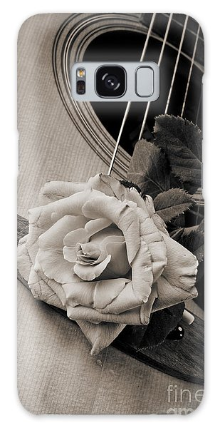 Rose Bloom Flower On Guitar In Sepia 3262.01 Galaxy Case