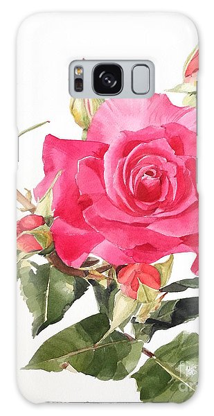 Watercolor Red Rose Margaret Galaxy Case