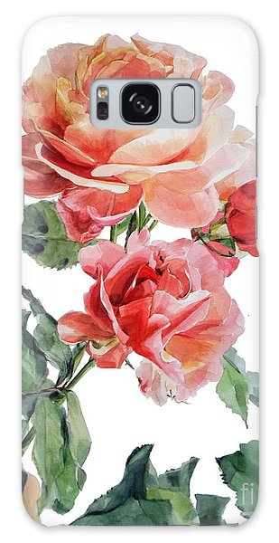 Watercolor Of Red Roses On A Stem I Call Rose Maurice Corens Galaxy Case