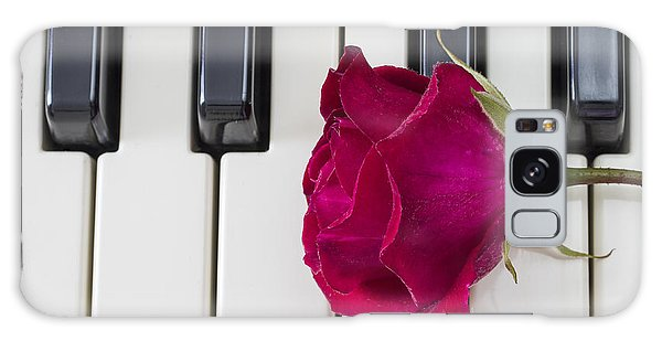 Rose Over Piano Keys Galaxy Case