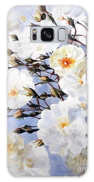 Rose Tchaikowsky A Stem Of White Roses And Buds Galaxy Case by Greta Corens