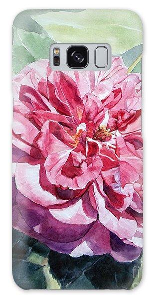 Watercolor Of A Pink Rose In Full Bloom Dedicated To Van Gogh Galaxy Case