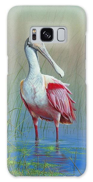 Roseate Spoonbill Galaxy Case by Mike Brown