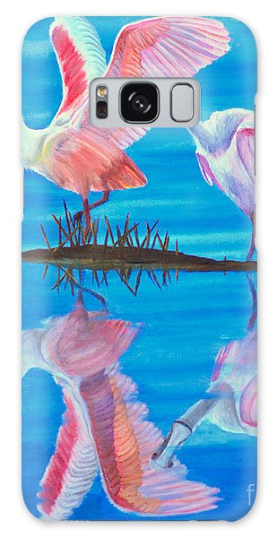 Roseate Spoonbill Pair Galaxy Case by Jane Axman
