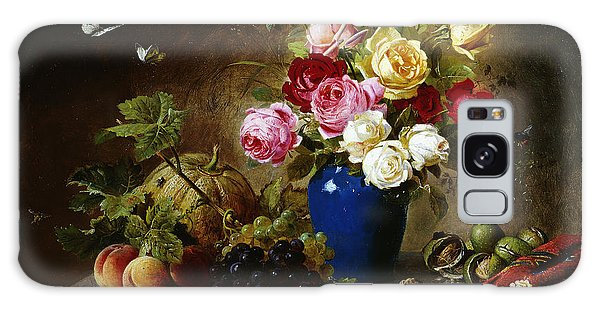 Roses In A Vase Peaches Nuts And A Melon On A Marbled Ledge Galaxy Case by Olaf August Hermansen