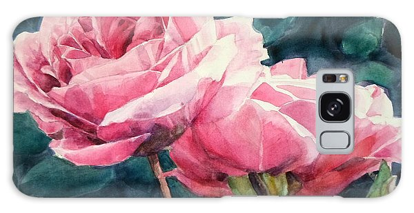 Watercolor Of Two Luscious Pink Roses Galaxy Case