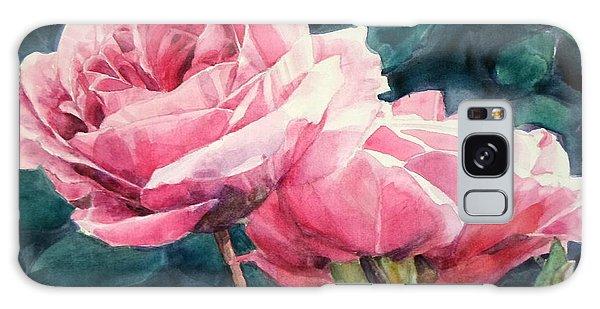 Pink Roses Wildebras Galaxy Case by Greta Corens