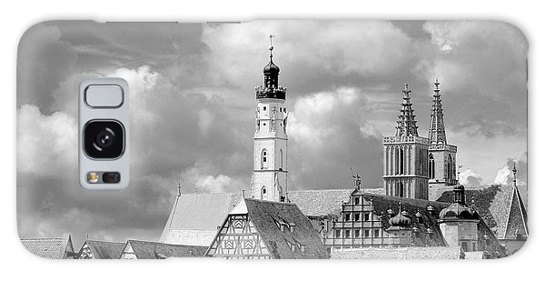 Rothenburg Towers In Black And White Galaxy Case by Corinne Rhode