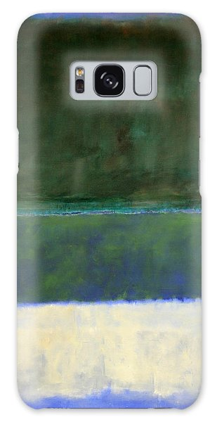 Rothko's No. 14 -- White And Greens In Blue Galaxy S8 Case
