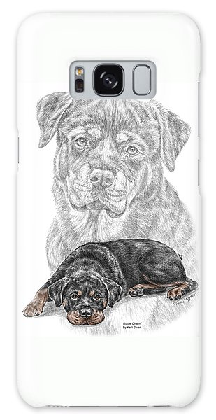 Rottie Charm - Rottweiler Dog Print With Color Galaxy Case by Kelli Swan
