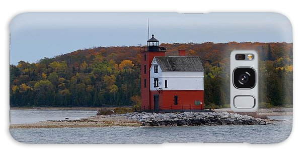 Round Island Lighthouse In Autumn Galaxy Case