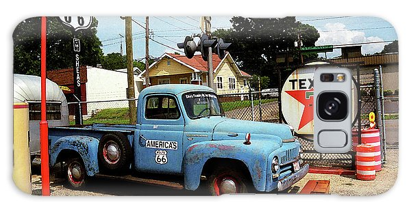 Route 66 - Gas Station With Watercolor Effect Galaxy Case by Frank Romeo
