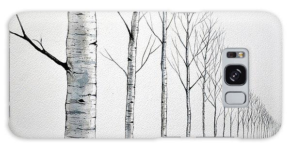 Row Of Birch Trees In The Snow Galaxy Case