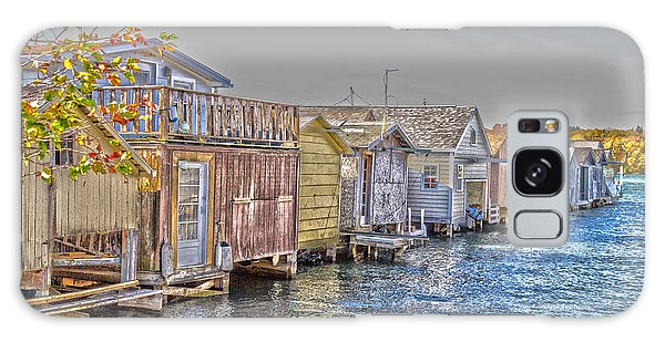 Row Of Boathouses Galaxy Case by William Norton