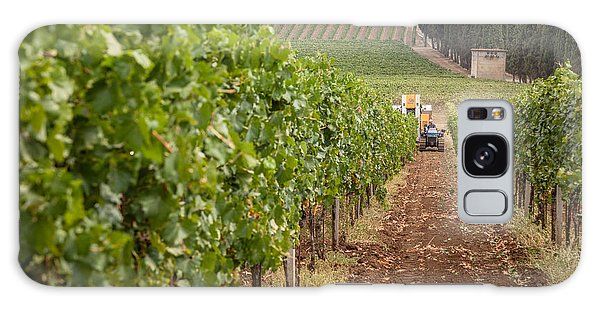 Rows On Vines With A Mechanical Harvester In The Distance Harves Galaxy Case