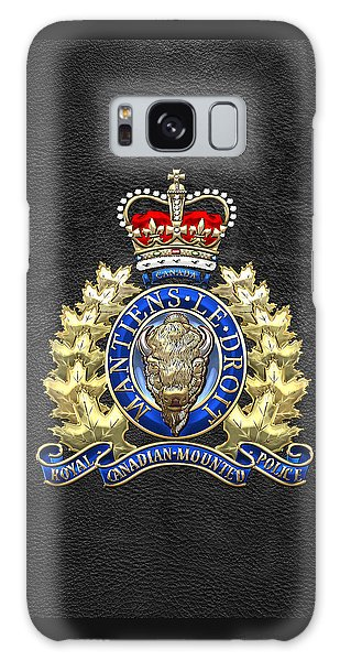 Royal Canadian Mounted Police - Rcmp Badge On Black Leather Galaxy Case