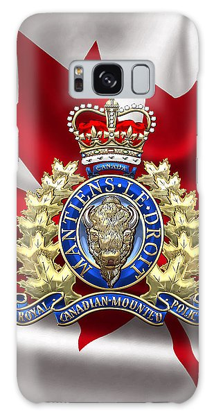 Royal Canadian Mounted Police - Rcmp Badge Over Waving Flag Galaxy Case