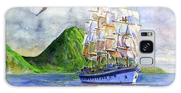 Royal Clipper Leaving St. Lucia Galaxy Case by John D Benson