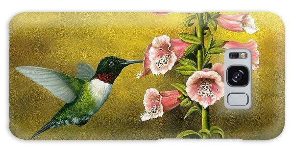 Ruby Throated Hummingbird And Foxglove Galaxy Case
