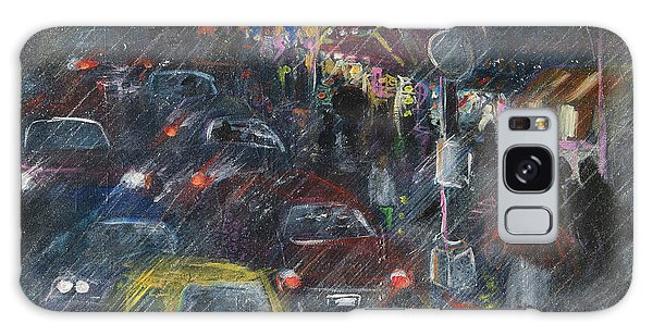 Rush Hour Rain  Galaxy Case by Leela Payne