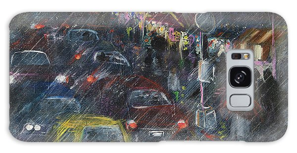 Rush Hour Rain  Galaxy Case by Leela Payne
