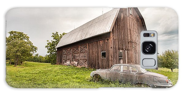 Galaxy Case featuring the photograph Rustic Art - Old Car And Barn by Gary Heller