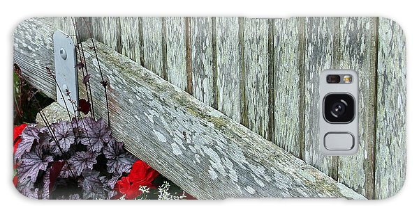 Rustic Fence And Flowers Galaxy Case