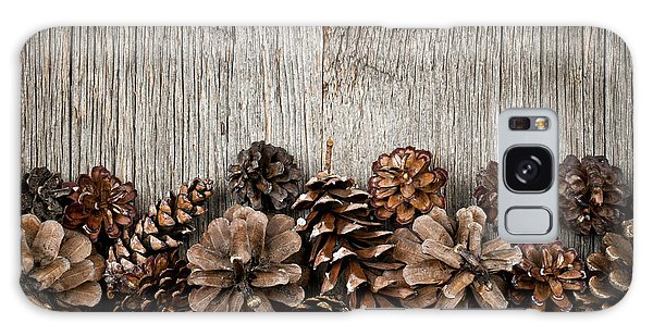 Autumn Galaxy Case - Rustic Wood With Pine Cones by Elena Elisseeva