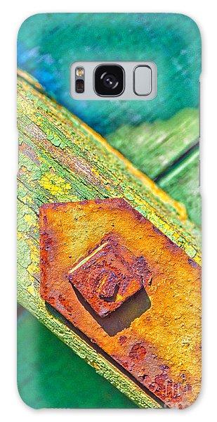Rusty Bolt On Rotten Green Wood Galaxy Case