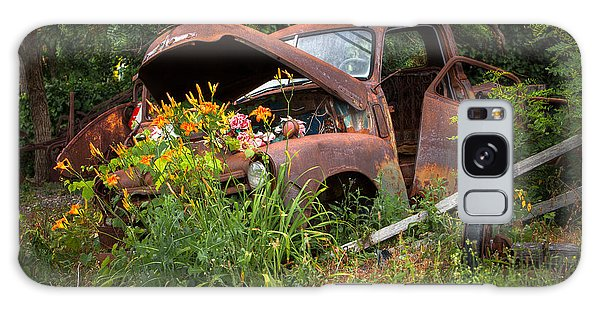 Galaxy Case featuring the photograph Rusty Truck Flower Bed - Charming Rustic Country by Gary Heller