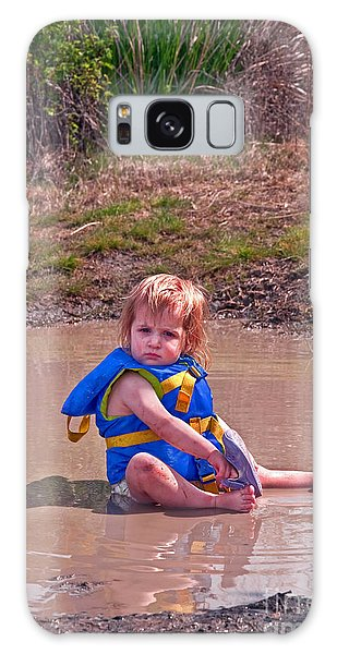 Safety Is Important - Toddler In Mudpuddle Art Prints Galaxy Case by Valerie Garner