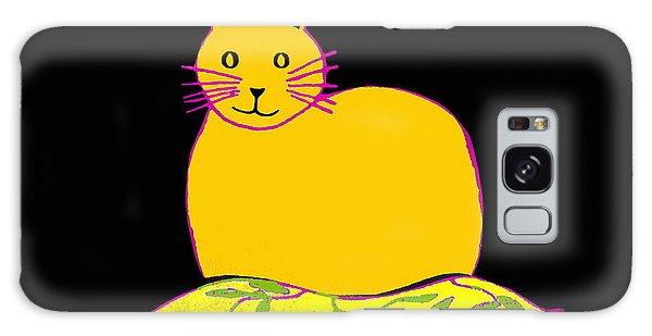 Saffron Cat On Black Galaxy Case by Barbara Moignard